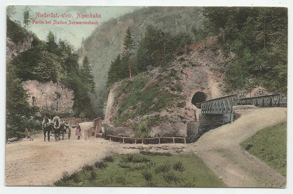 1907_Post_cars_of_street_and_Mariazellerbahn_at_Gillus_in_Frankenfels,_Austria.jpg